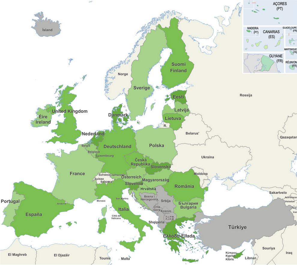 aantal inwoners europese landen
