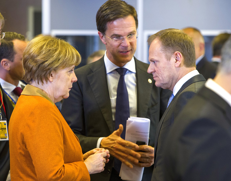 Angela Merkel, Mark Rutte en Donald Tusk