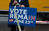 Bord met de tekst Vote Remain on June 23rd (stem tegen Brexit op 23 juni)