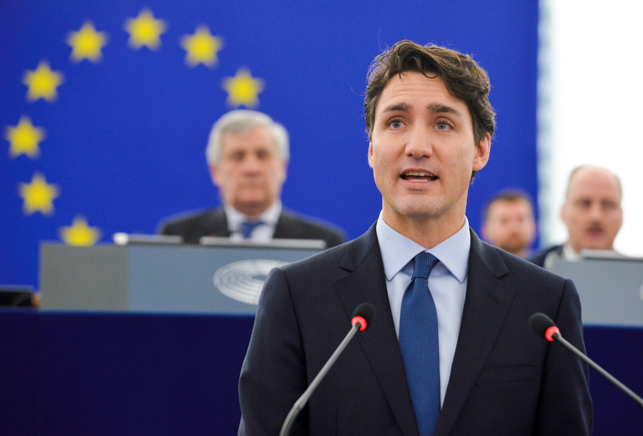 Justin Trudeau in het Europees Parlement