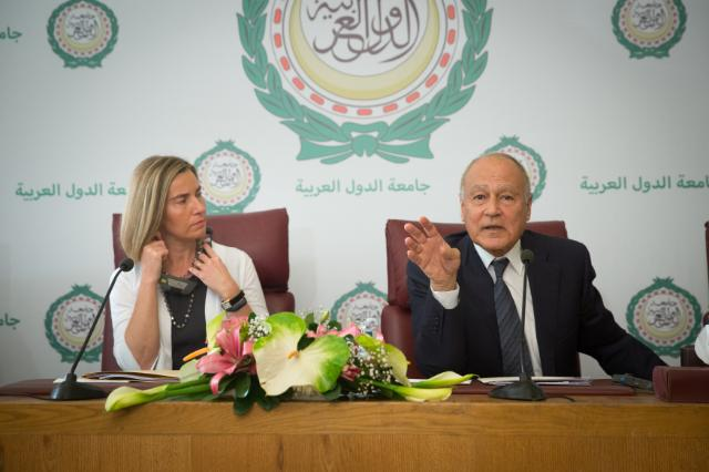 Ahmed Aboul Gheit, on the right, and Federica Mogherini