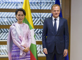 H.E. Ms Aung San SUU KYI, 1st State Counsellor of Myanmar; Mr Donald TUSK, President of the European Council.