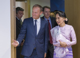 From left to right: Mr Donald TUSK, President of the European Council; H.E. Ms Aung San SUU KYI, 1st State Counsellor of Myanmar.