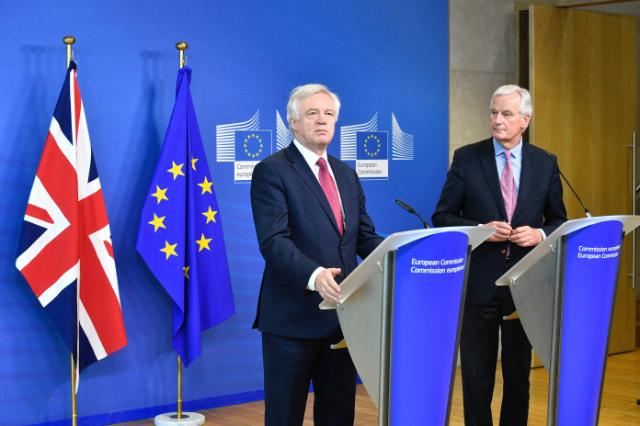 David Davis, on the left, and Michel Barnier during the Opening session