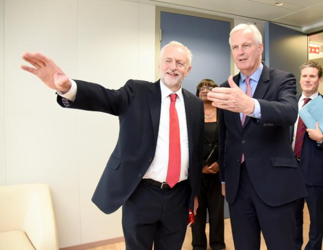 Jeremy Corbyn, pointing at something, Diane Abbott, Michel Barnier and Sir Keir Starmer ...