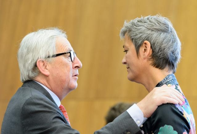 Jean-Claude Juncker, on the left, and Margrethe Vestager