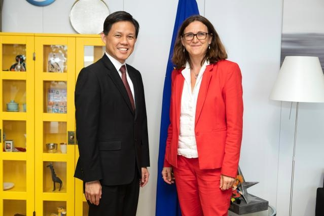 Chan Chun Sing, on the left, and Cecilia Malmström