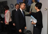 Luigi Di Maio, on the left, and Marianne Thyssen