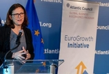 "Cecilia Malmstrom, at the podium, during the Atlantic Council ""Trade Trends 2019"" talk"