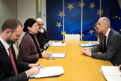 "General view of the meeting between VÄ""ra Jourová, 2nd from the left, and Stef Blok, 5th ..."