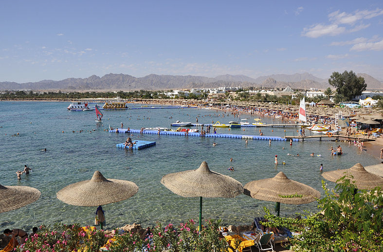 Panorama van Naama Bay, Sharm el-Sheikh in Egypte