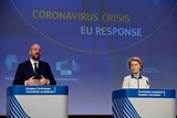 Ursula von der Leyen, on the right, and Charles Michel