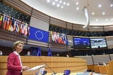 Ursula von der Leyen at the podium